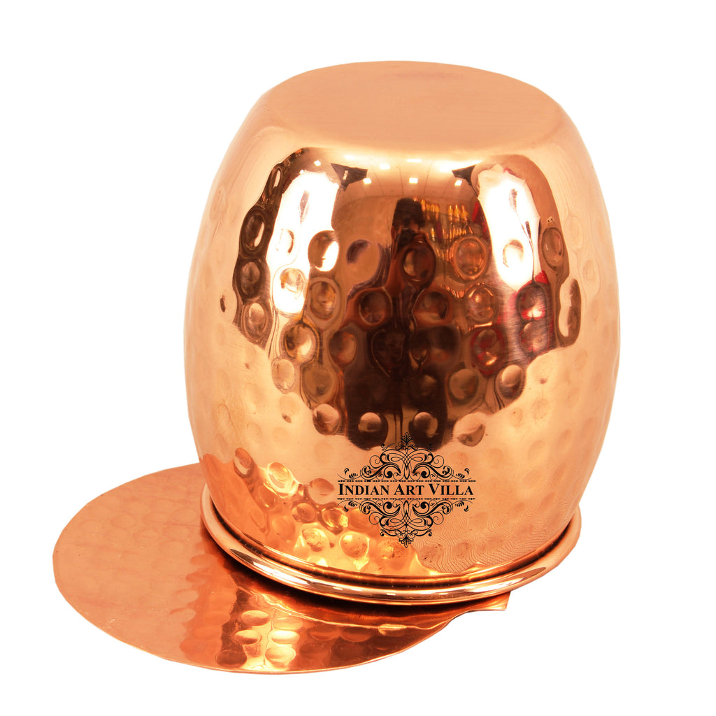 Copper Hammered Design Round Glass Tumbler with Coaster 590 ML