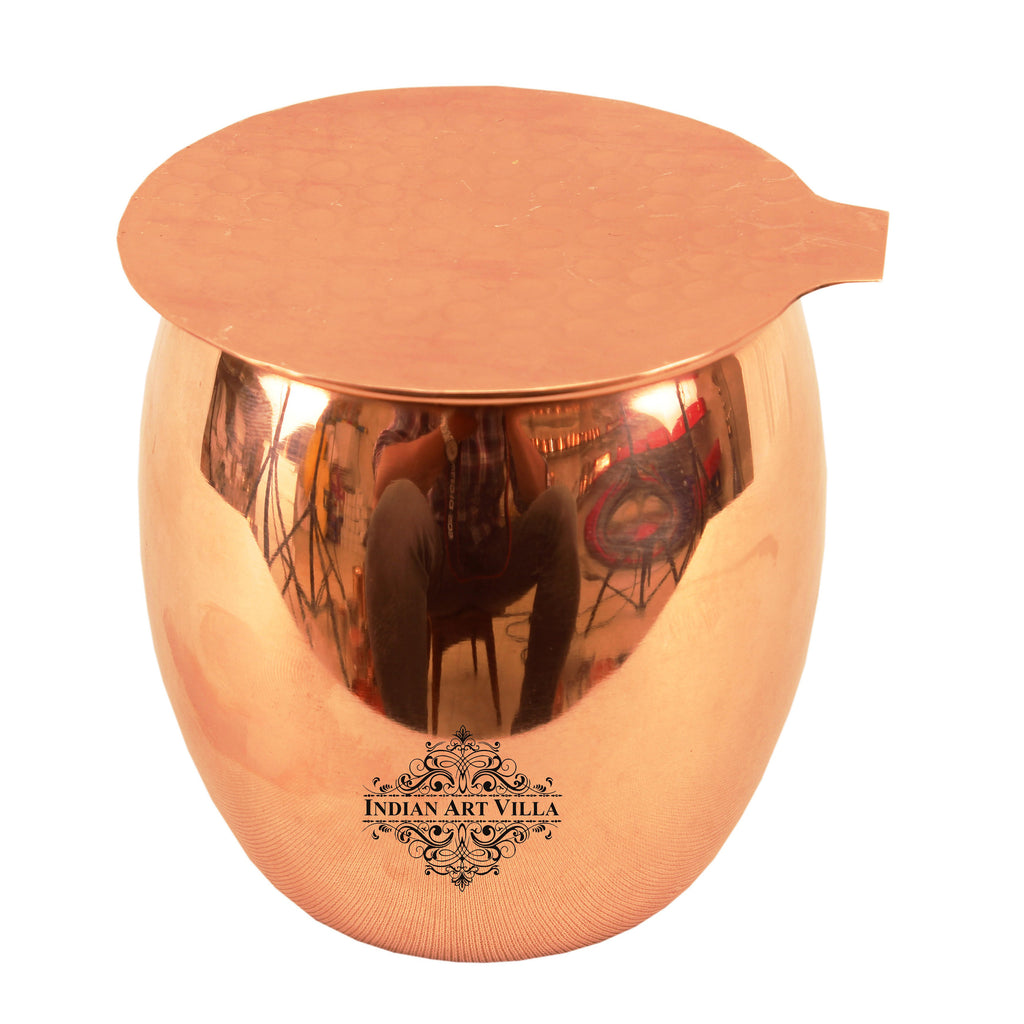 Copper Plain Design Round Glass Tumbler Cup with Coaster
