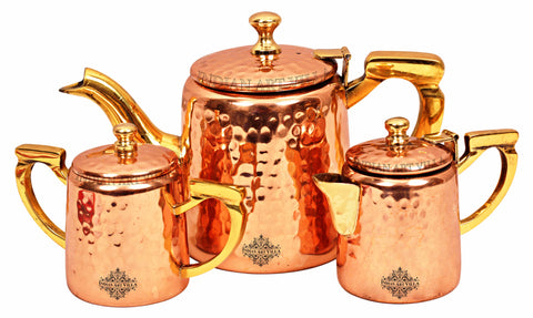 Copper Handmade Hammered Design Set of 1 Milk, 1 Sugar, 1 Tea Pot With Brass Handle ( 3 Pieces )