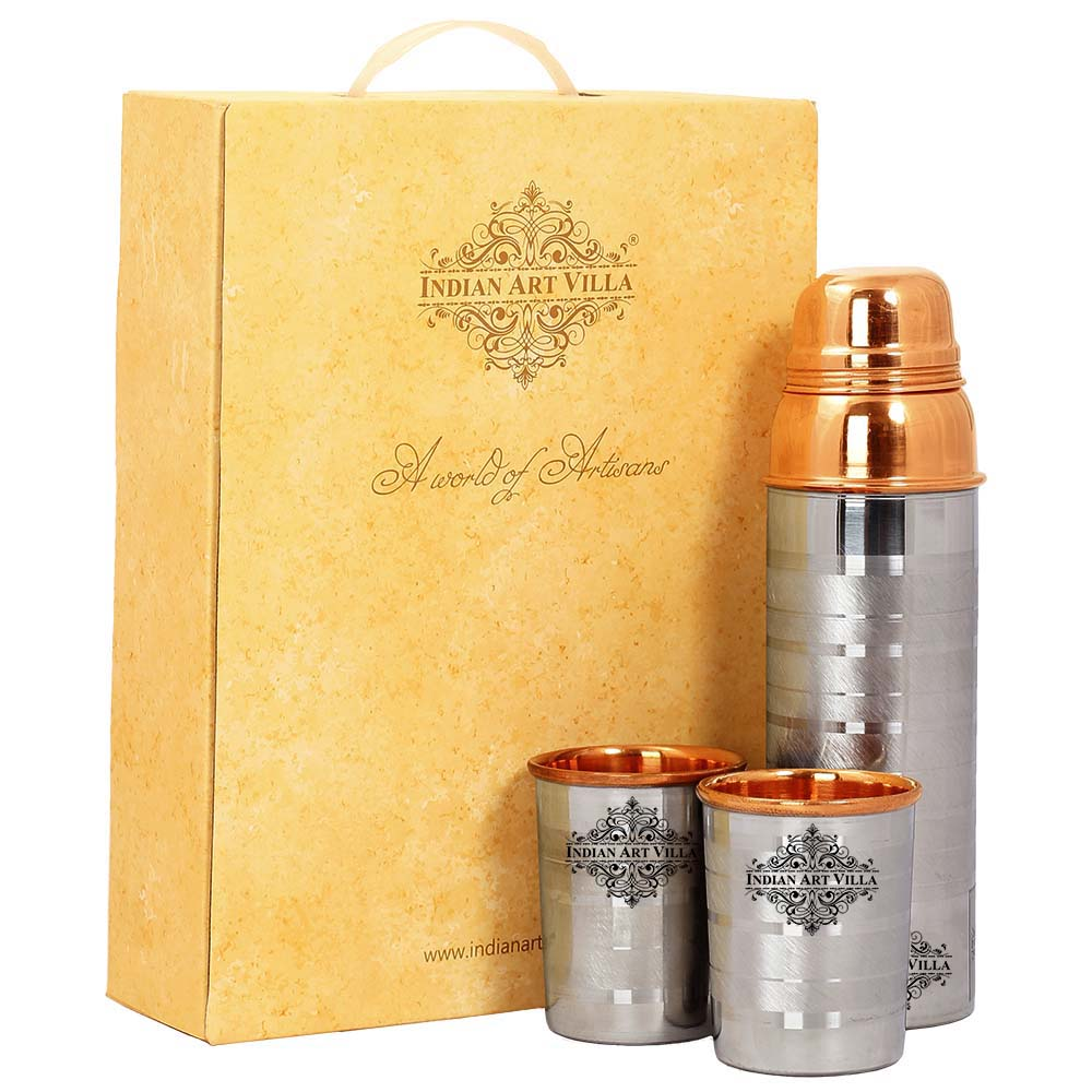 Pure Copper Bottle with glass & Gift Box, Thermos Luxury Design, Diwali Marriage party Gift Set
