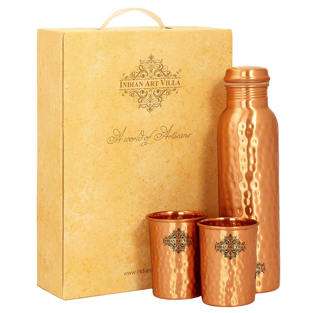 Pure Copper Bottle with glass & Gift Box, Hammered Lacquer Coated Design, Diwali Marriage party Gift Set