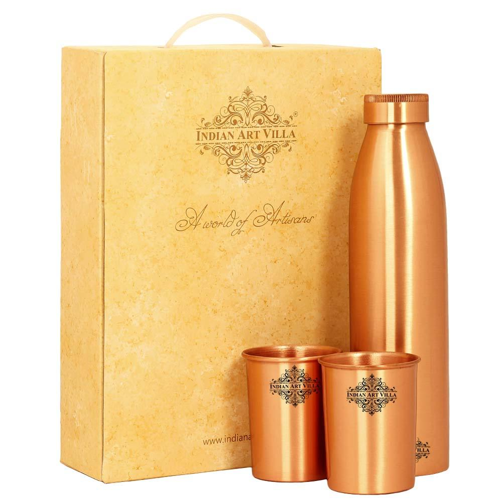 Pure Copper Bottle with glass & Gift Box, Seamless Doctor Copper Bottle, Diwali Marriage party Gift Set