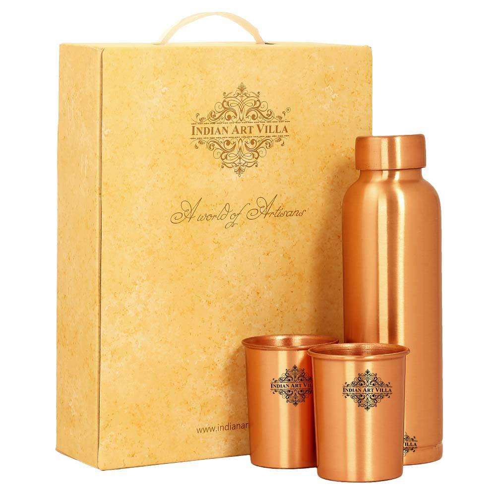 Pure Copper Bottle with glass & Gift Box, Lacquer Coated Matt Finish, Diwali Marriage party Gift Set