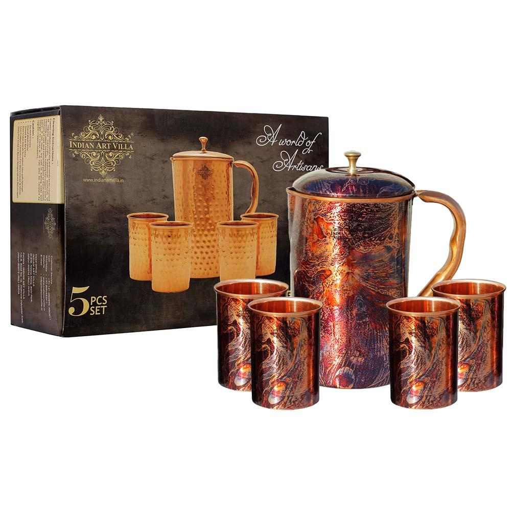 Pure Copper Jug with glass & Gift Box, Printed Design Pink, Diwali Marriage party Gift Set