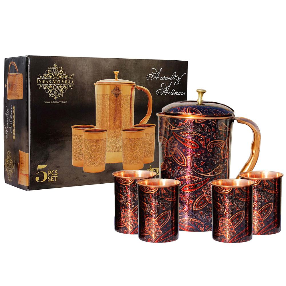 Pure Copper Jug with glass & Gift Box, Printed Design Purple, Diwali Marriage party Gift Set