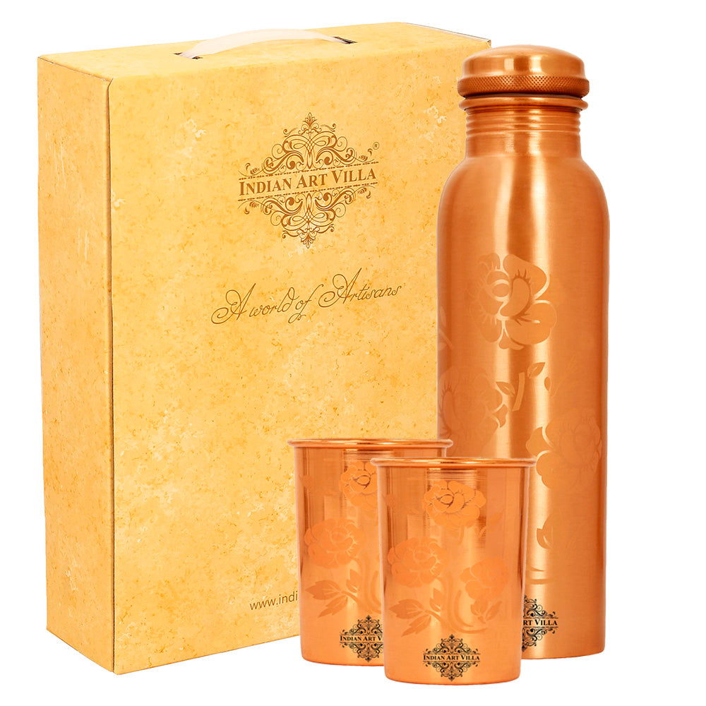 Color Changing Copper Bottle With 2 Glass Gift Set,Magic Bottle & 2Glass, Changes Color When Filled With Cold Chilled Water