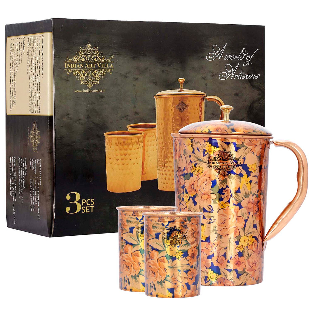 Copper Designer Printed Jug Pitcher With Glass Tumbler Gift Set, Brown