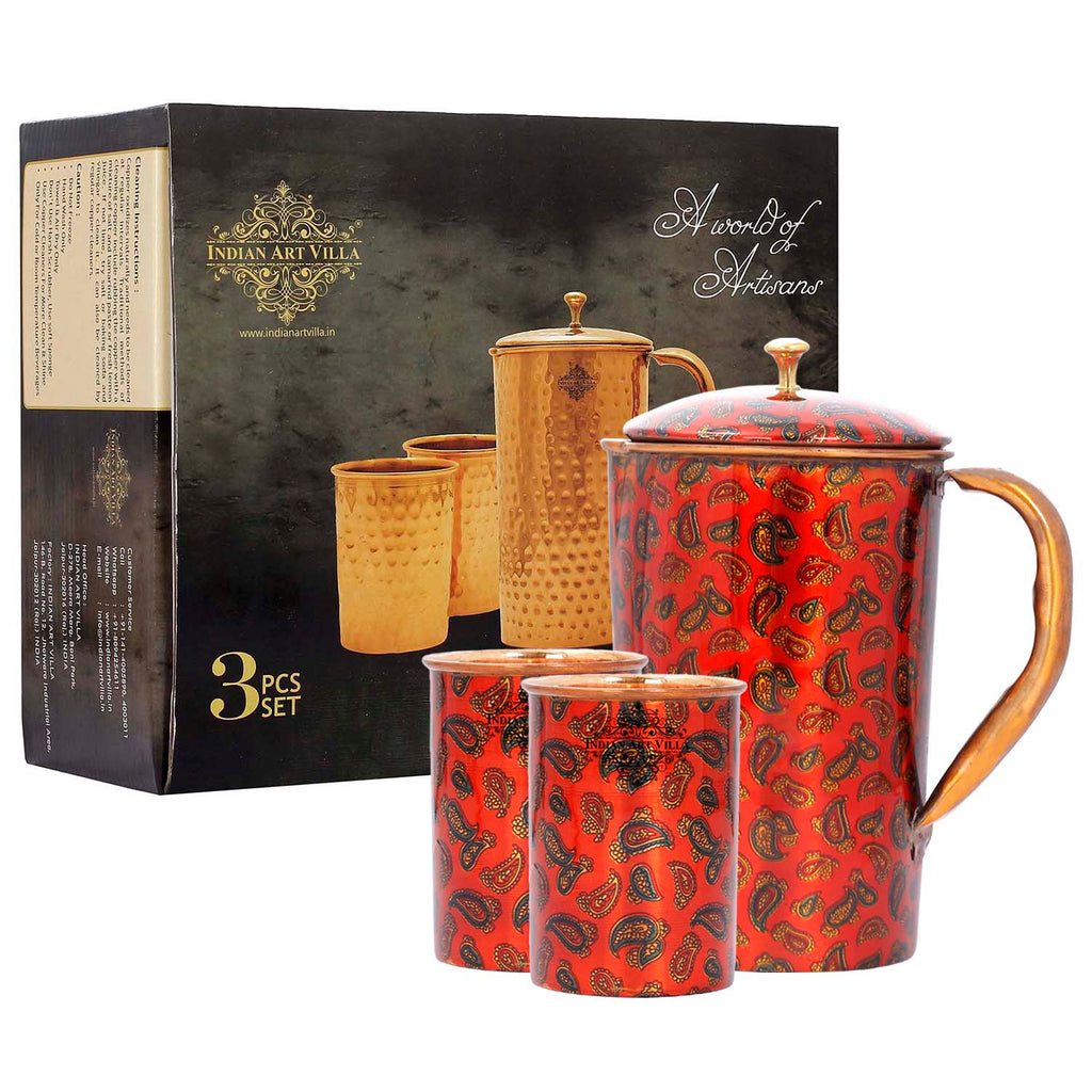 Copper Jug with 2 Glass Gift Box Set, Designer Printed Pitcher, Red