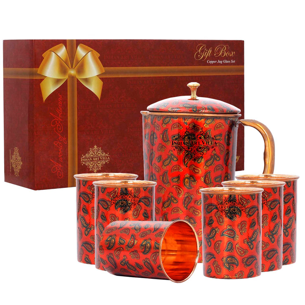 Copper Printed Jug with 6 Glass Set Red