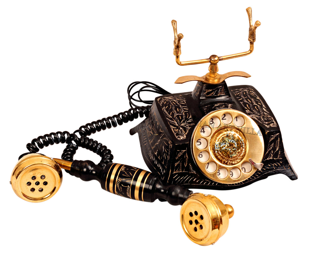 Brass Engraved Rotary Dial TelePhone, Showpiece Decorative