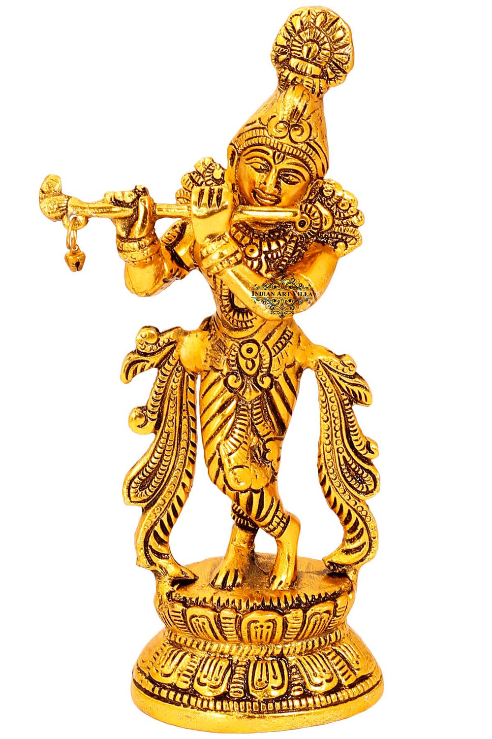 "Aluminium Lord Krishna Idol, Showpiece, Home Decore, Gift Item, Height:- 9.1"" Inch"