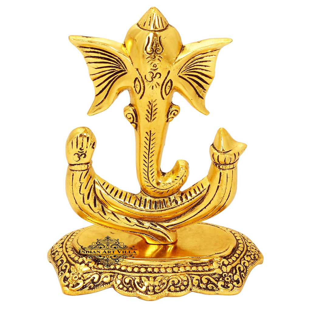 "Lord Ganesha Metal Statue Home Décor Room Décor Wall Decor Height:- 7.1"" Inch Color Gold"