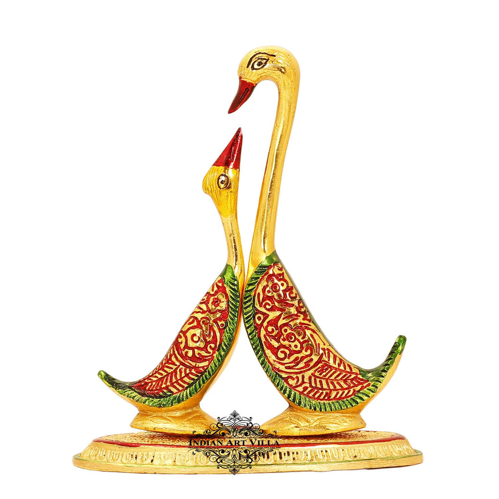 "Swan Pair Showpiece Home Décor Room Décor Wall Decor Height:- 7.1"" Inch Color Gold"
