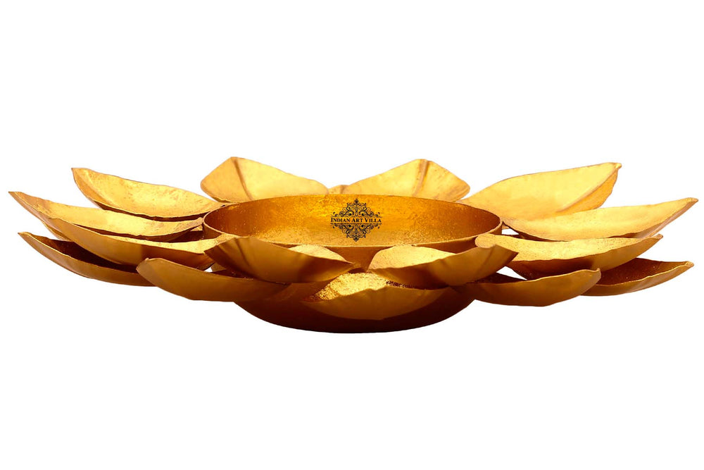 Lotus Design Tea Light Candle Diya Gold Diameter:- 10.6""