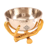 Aluminium Hammered Bowl with Aluminium Bough Design Stand | Decorative Gift Item