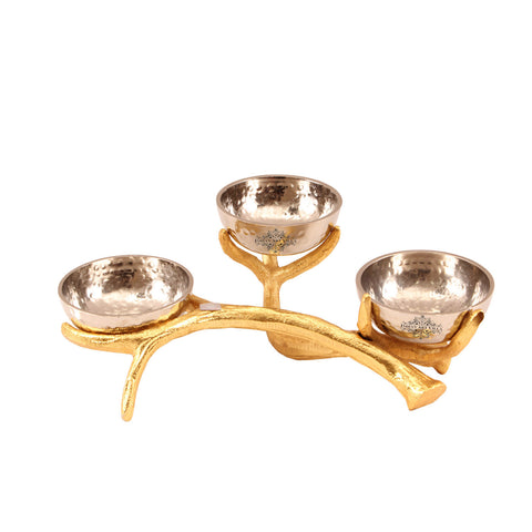 Aluminium Set of 3 Bowls with Designer Stand | Serving Dishes Tableware