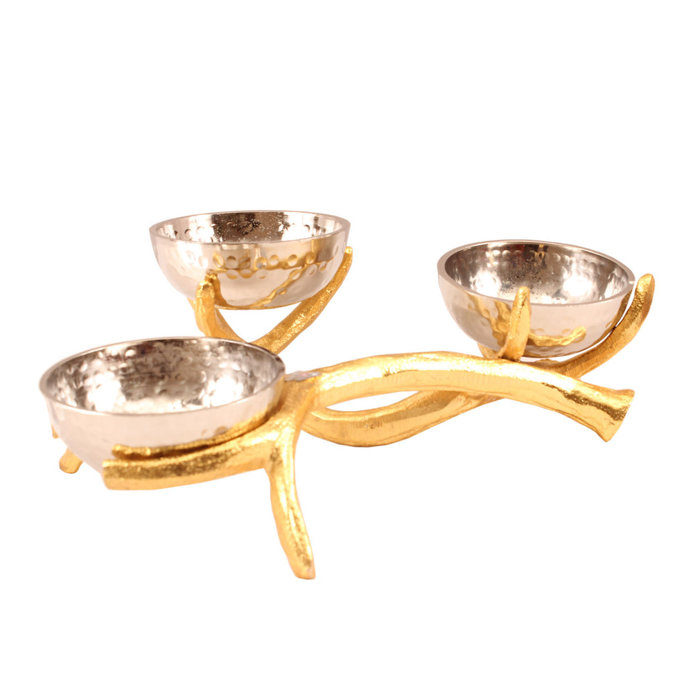 Aluminium Set of 3 Chrome Finish Bowl with Bough Design Stand