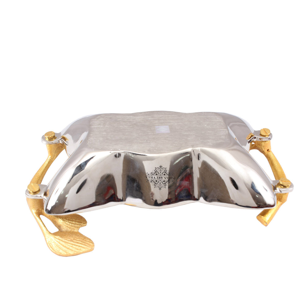 Alluminum Chrome Finish Designer Tray with Golden Handle