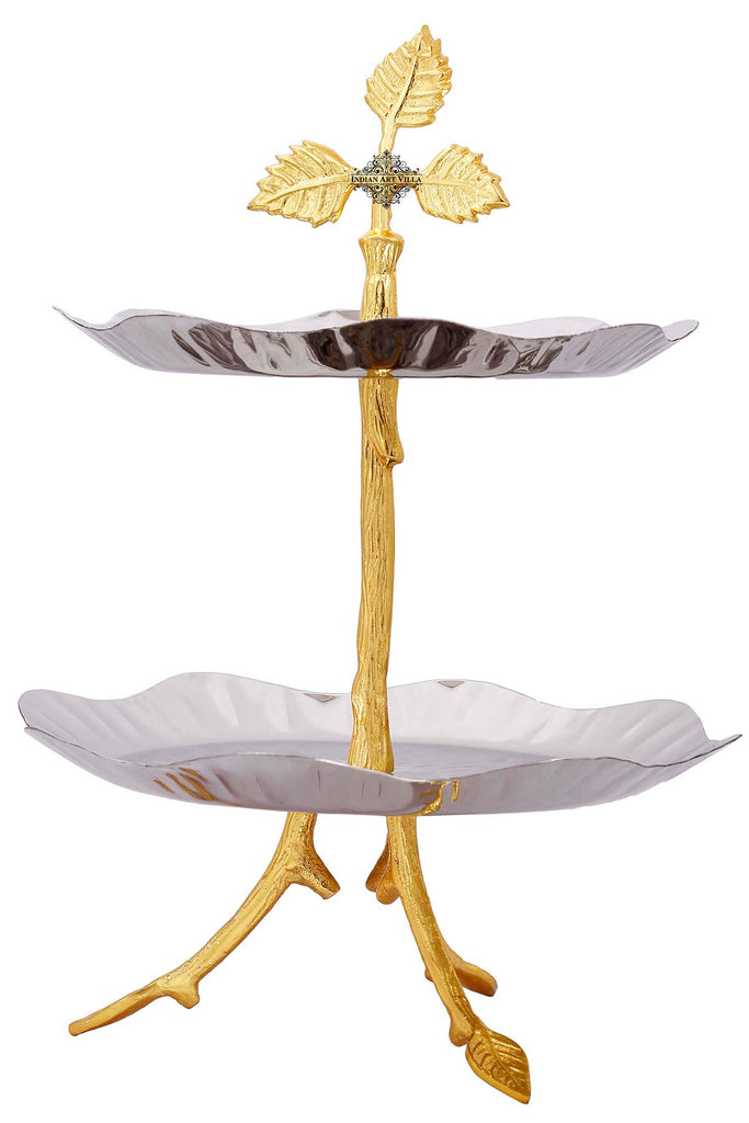 "Aluminium 2 tier Serving Tray Stand Round Shape, 15.7"" Inch"