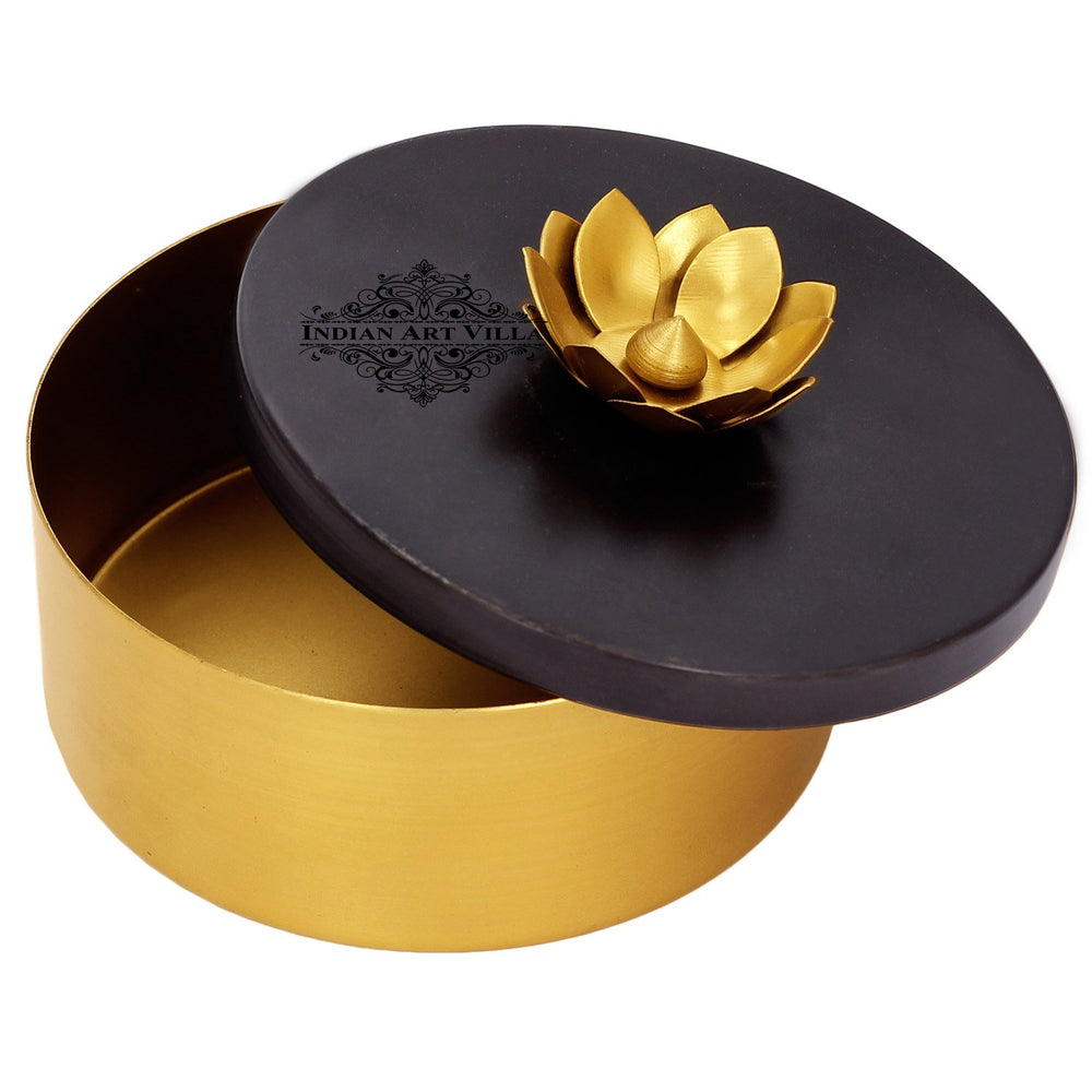 "Handmade Dry Fruit Gift Box Chocolate Box For Diwali Marriage Gift Multipurpose Uses Brass Finish Flower Design 5.2 "" Inch"