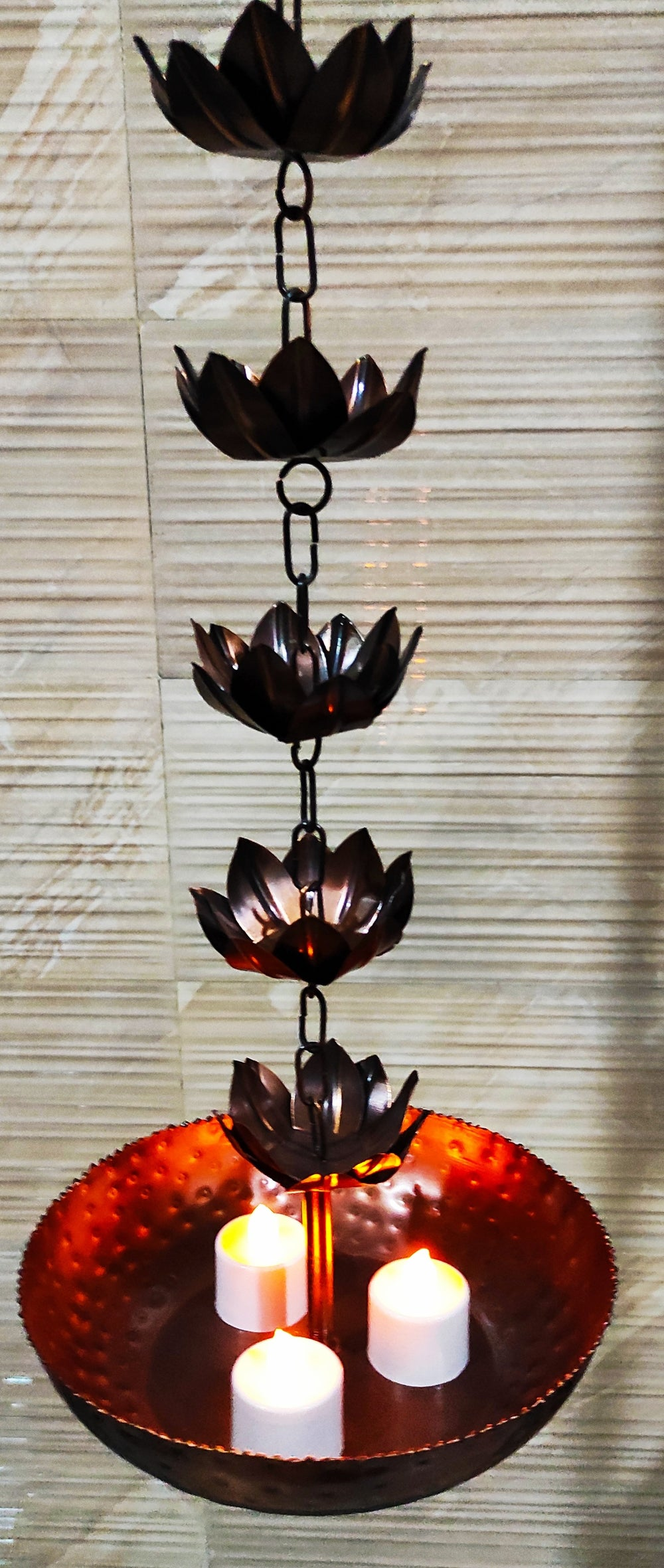 Copper Hanging Diya Light Round Bowl with Glass Candles, Decorative Purpose, Diwali, Marriage Gift