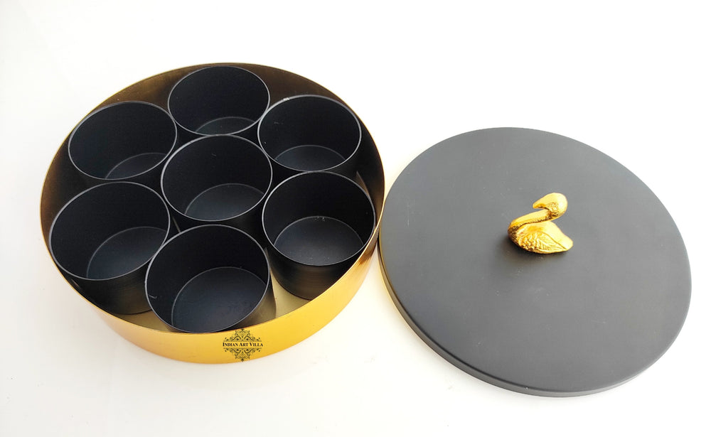 "Handcrafted Masala Box with Black Designer Lid- Diameter 8"" Inch"