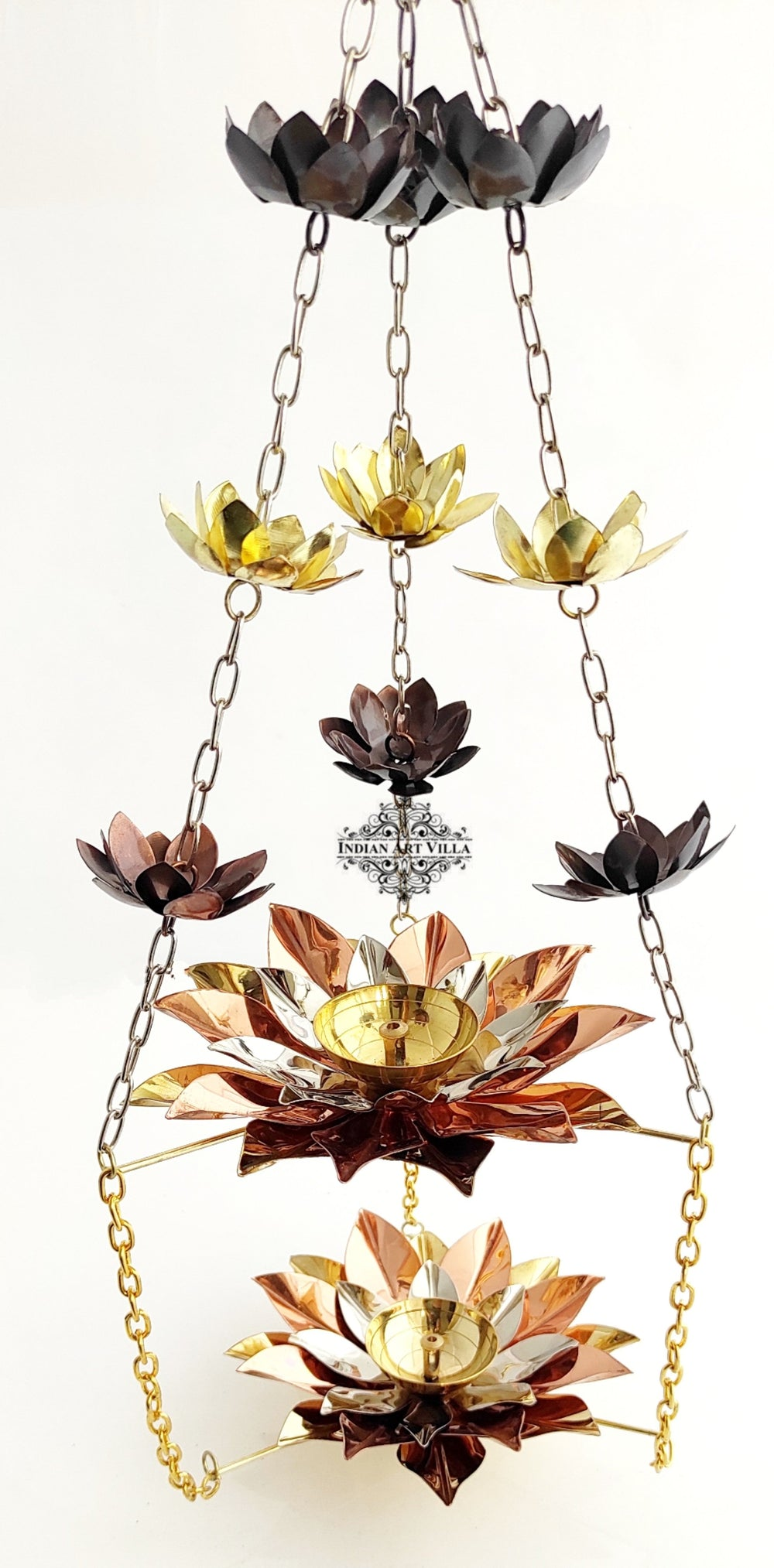 "Brass & Copper Hanging Akhand Diya Flower Design, Decorative Purpose, Diwali, Marriage Gift, Height:- 28"" Inch"