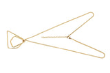 Brass Chain Choker Necklace with Muttilayer Triangle Pendant, Gives a Classy Look for Parties