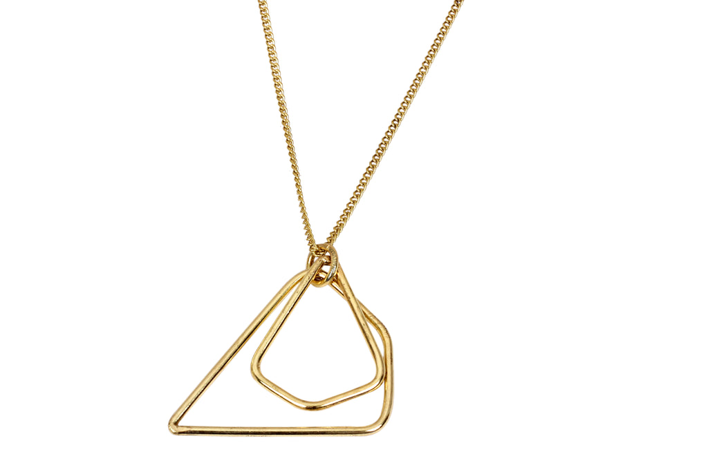 Brass Chain Choker Necklace with Muttilayer Triangle Pendant
