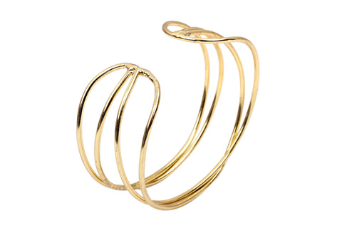 Brass Gold Cuff Bracelet Kada | Double Layer Bracelet