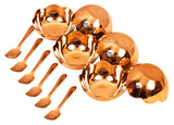 Bronze Kansa Utensil Set of 6 Ice Cream Bowl & 6 Ice Cream Spoon (12 Pieces)