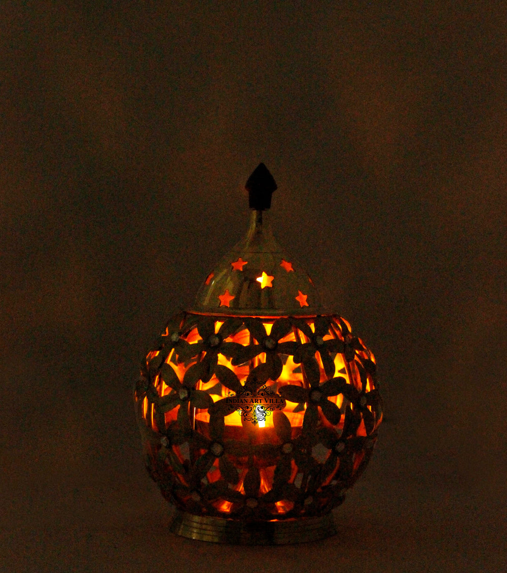 "Copper Flower Design Lamp, Height 6.2"" Inch"