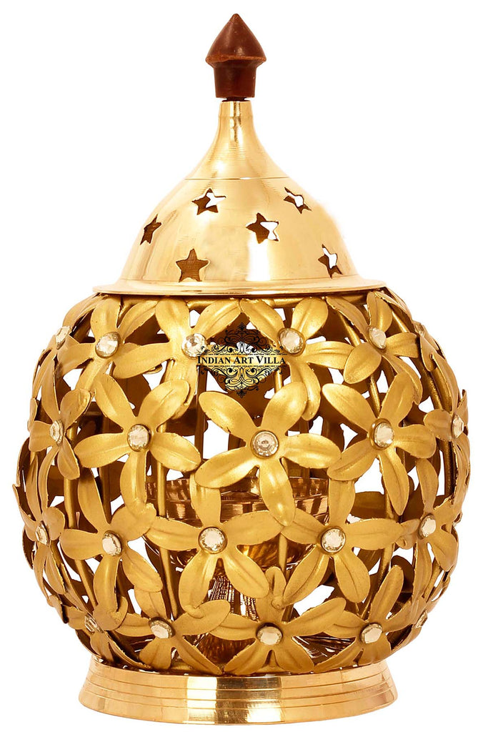 "Flower Design Lamp, Height 6.2"" Inch Gold"
