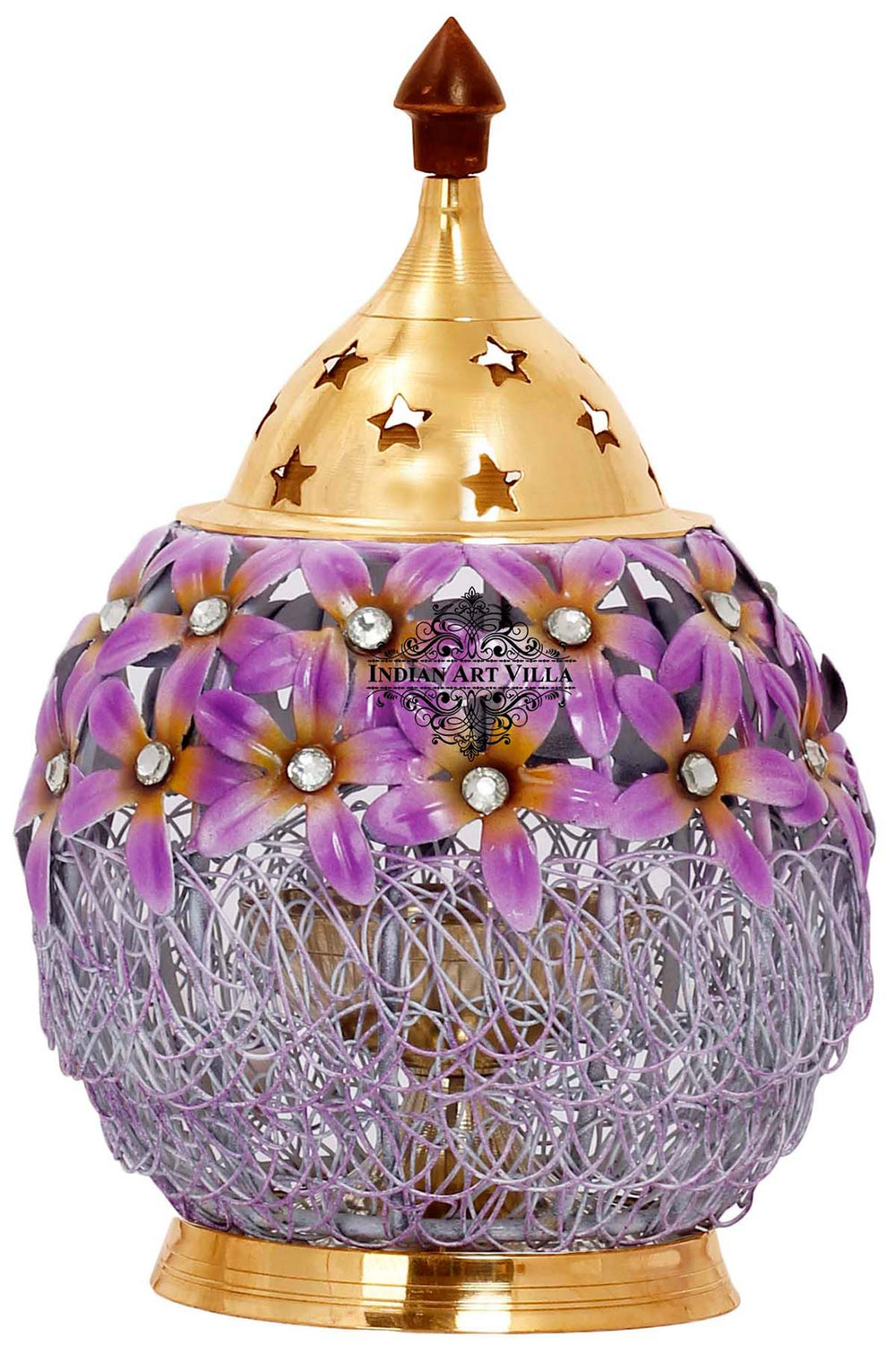 "Flower Design Lamp, Height 6.4"" Inch, Purple"