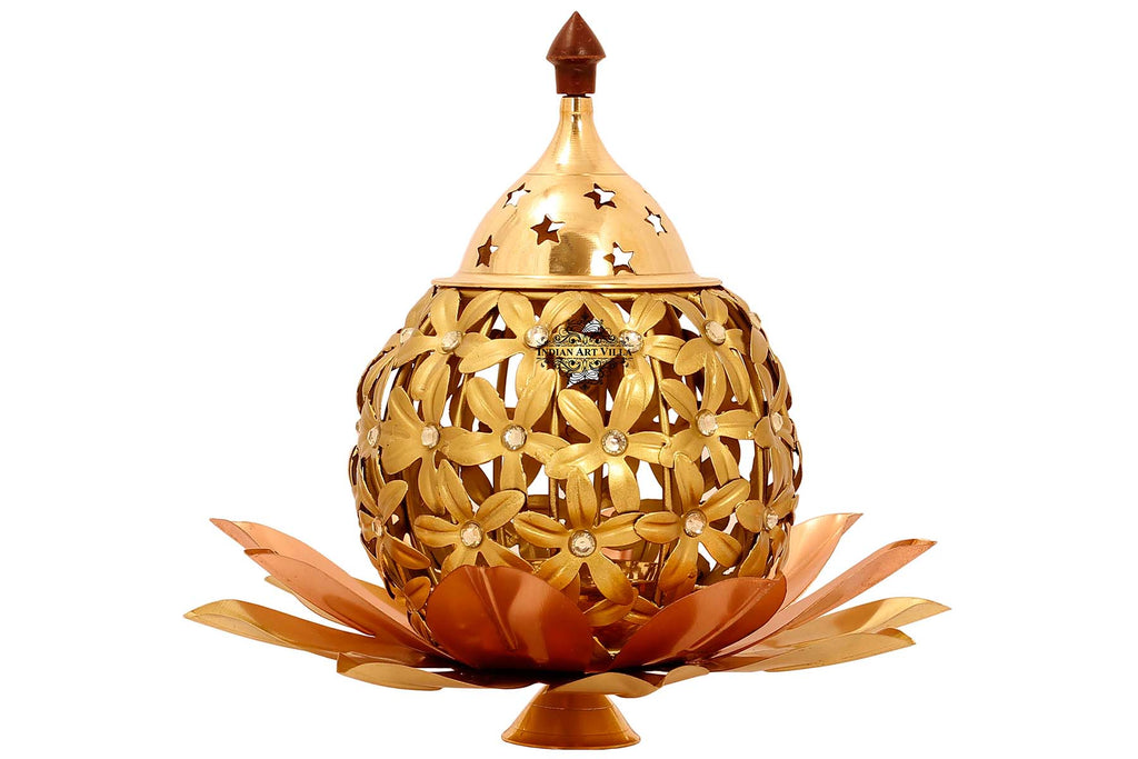 "Iron Flower Design Lamp , Home Decore Gift item, 8.7"" Inch, Gold"