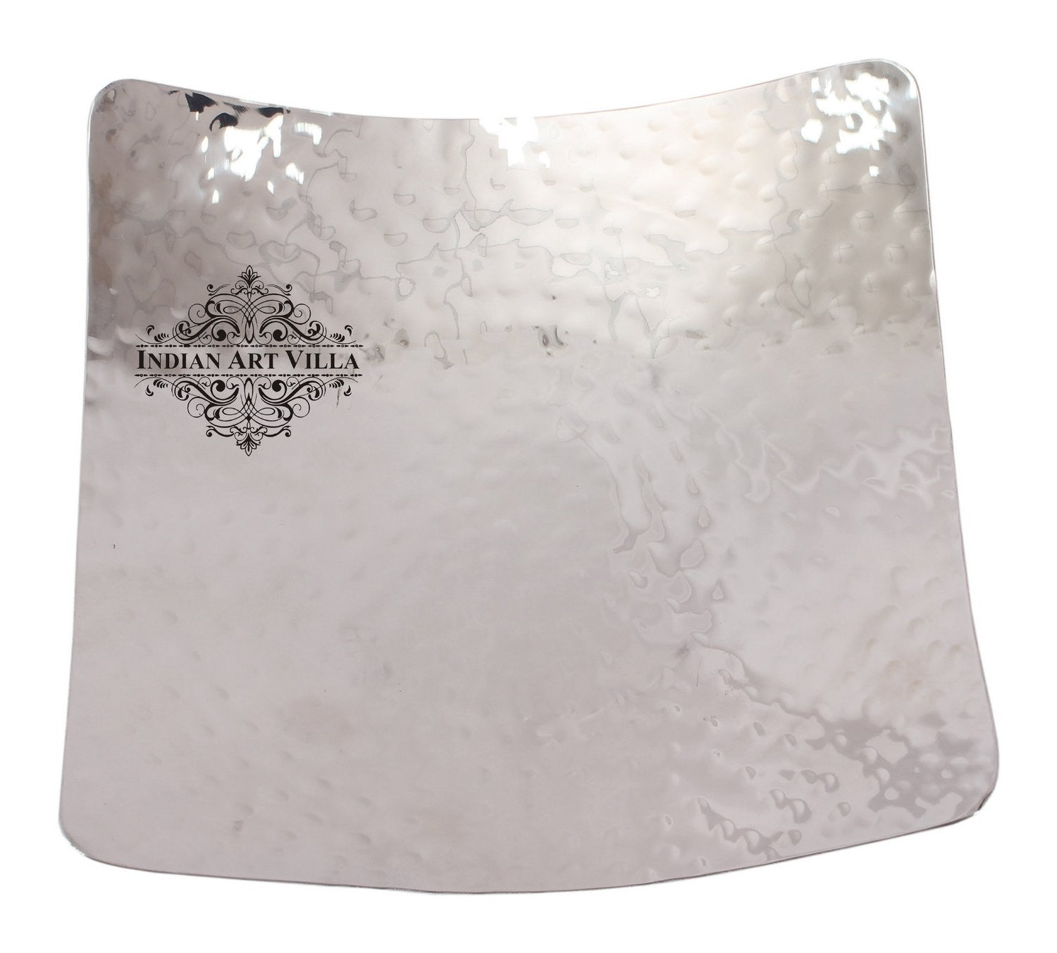 Steel Hammered Design Square Platter with Legs