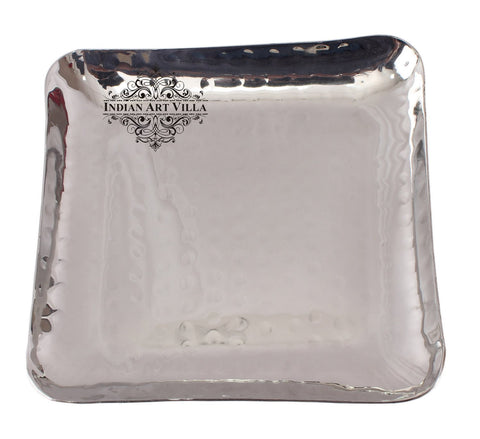 Steel Square Hammered Design Platter Tray for Serving Dishes