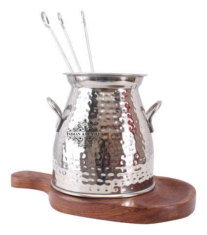 Steel Handmade Table Tandoor with 3 Skewers for Paneer Tikka Chicken Dish
