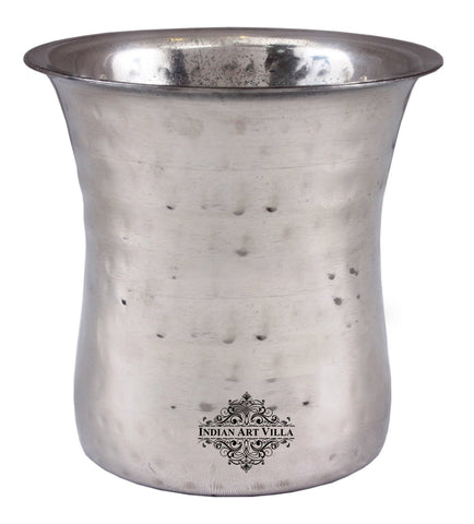 Steel Hammered Curved Glass Tumbler Cup Serving Drinking Water