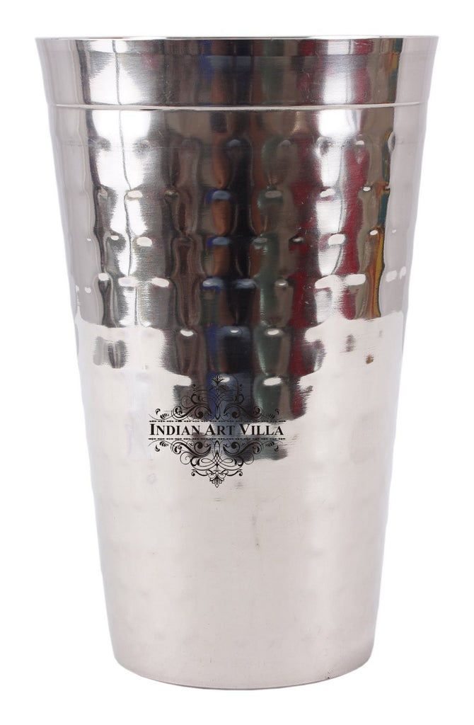 Steel Hammered Design Lassi Glass Big -750 ML