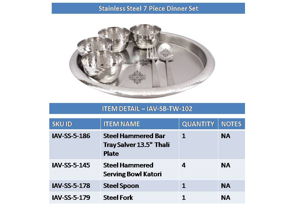 Steel Hammered Design Dinner Multicuisine Set 7 Pieces