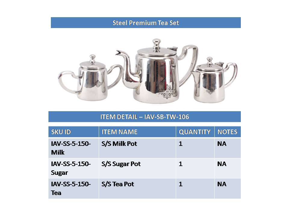 Steel Premium Milk Pot,Tea Pot,Sugar Pot Tea Set