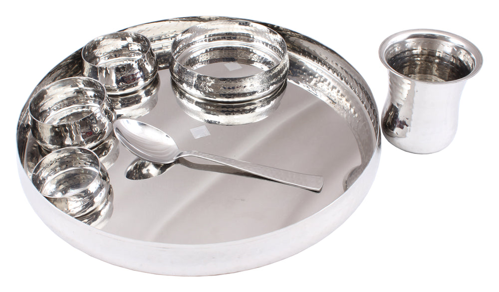 Steel 7 Piece Curved Design Thali Set