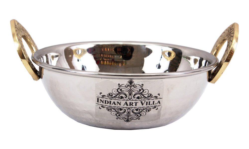 Steel Hammered Design Set of 1 Kadai Wok with Handi Bowl