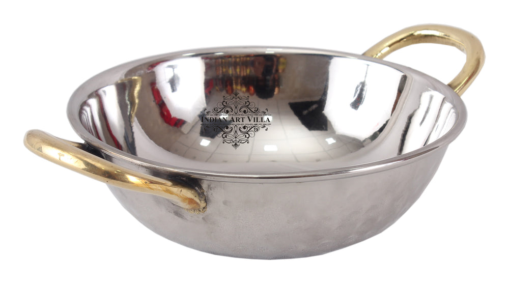 Steel Designer Set of 2 Kadai Wok Bowl with Brass Handle