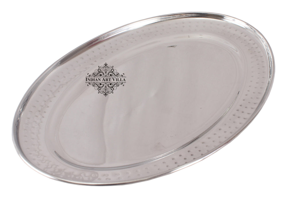 "Steel Hammered Set of 2 Oval Tray Platter 12""Inch"