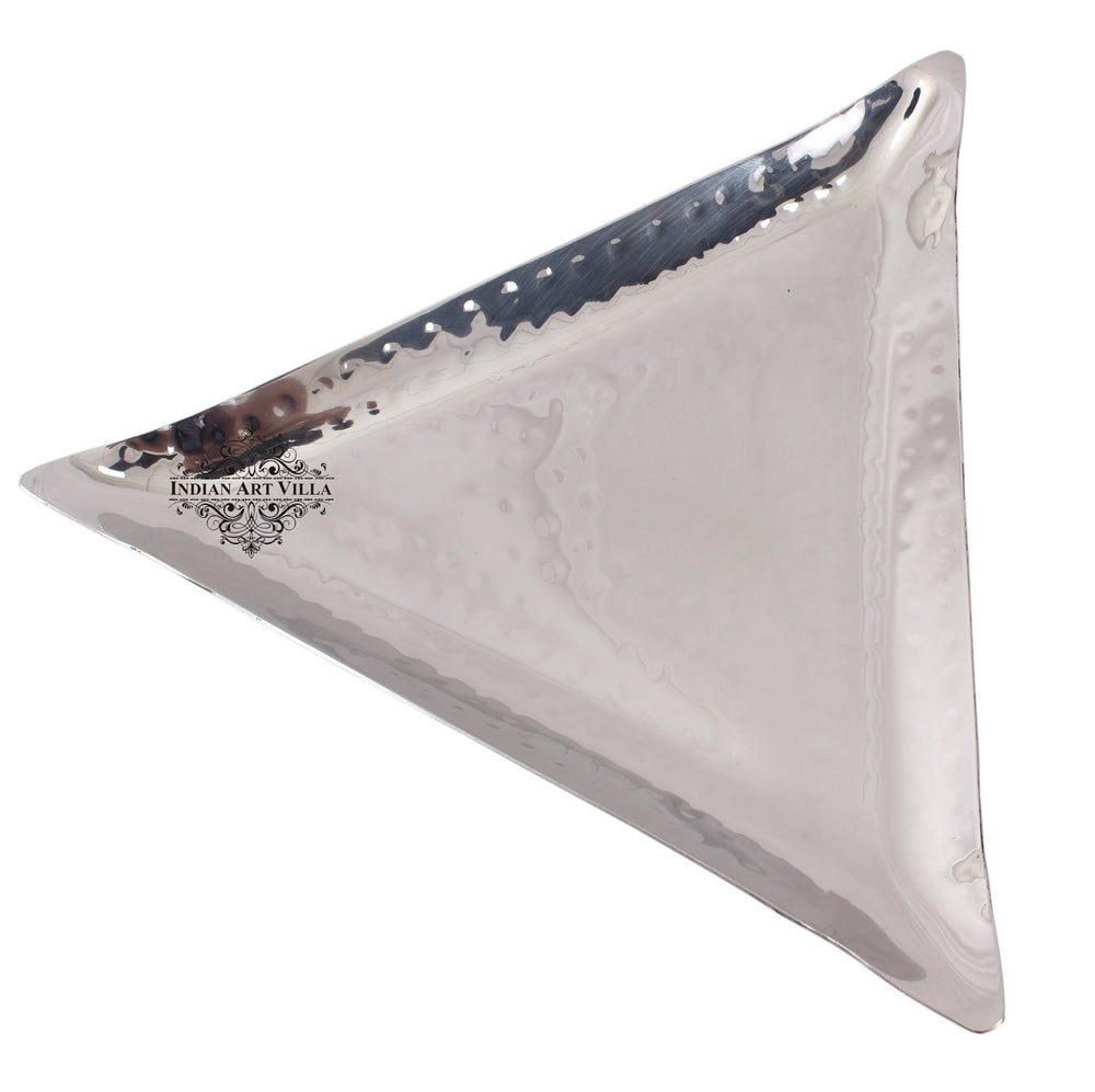 Steel Hammered Set of 2 Triangular Tray Platter
