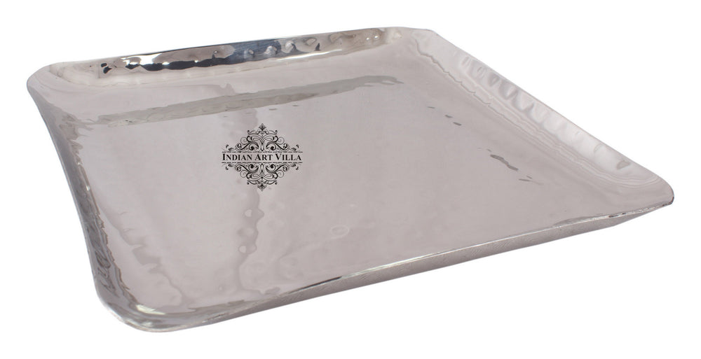 Steel Hammered Set of 2 Square Tray Platter
