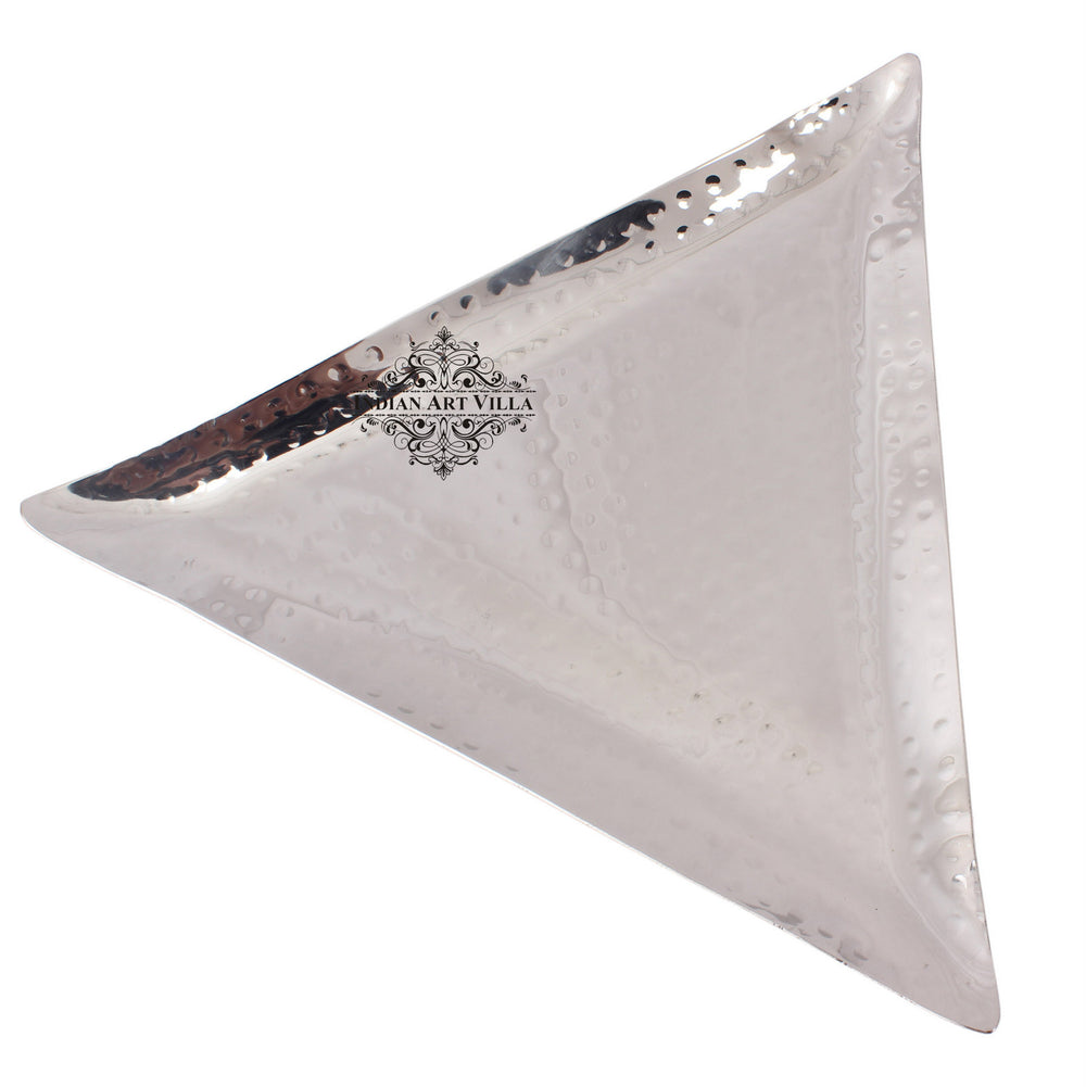 Steel Hammered Set of 1 Triangular Tray with 1 Square Tray