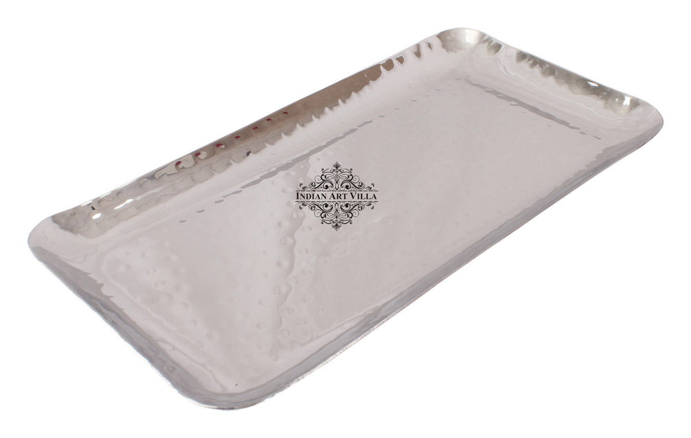 Steel Hammered Set of 1 Round Plate with 1 Rectangular Tray